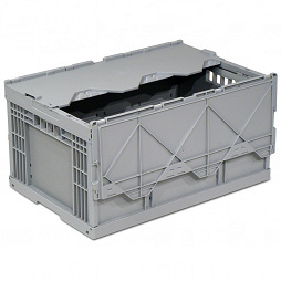 Foldable box-solid sidewalls, ribbed base, 2 part lid, without locking