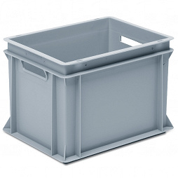 Stackable container - solid sidewalls, slotted base and 2 handle slots