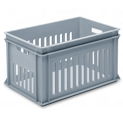 Stackable container- slotted sides, solid base & 2 handle slots