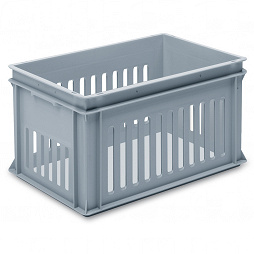 Stackable container - slotted sidewalls, solid base & 2 shell handles