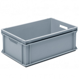 Stackable container- solid sidewalls, slotted base & 2 handle slots