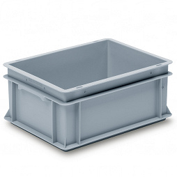 Stackable container- solid sides, reinforced base & 2 shell handles