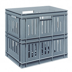 Stackable container - slotted sidewalls, grated base and 4 handle slot