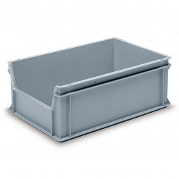 Stackable container - solid sidewalls, solid base and 1 shell handle.