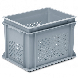 Stackable container-perforated sidewalls,slottedbase & 2 shell handles