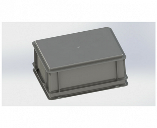 Stackable container- solid sides & base with 2 shell handles