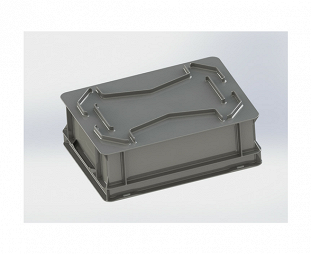 Stackable container- solid sides, SGL solid base & 2 shell handles