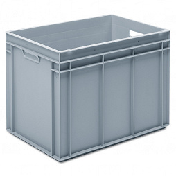 Stackable container - solid sidewalls, solid base and 2 handle slots