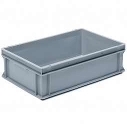 Stackable container - solid sidewalls, ribbed base & 2 shell handles