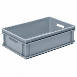 Stackable container- solid sides, slotted base & 2 handle slots