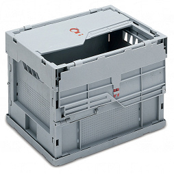 Foldable box- solid sides & base, 2 part lid on long walls, & locking