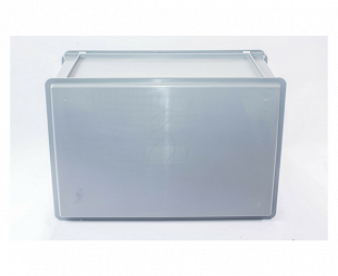 Stackable container- solid sidewalls & base with 2 handle slots