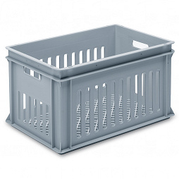 Stackable container - slotted sidewalls, grated base and 2 handle slot