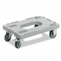 Dolly with 2 fixed and 2 steering castors, 600x400x175 mm
