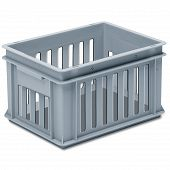Stackable container - slotted sidewalls, solid base, 2 shell handles.
