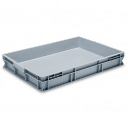 Stackable container - solid sidewalls and enclosed double base