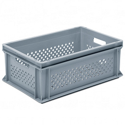 Stackable container- perforated sides, slotted base & 2 handle slots