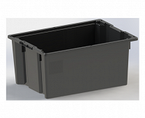 800x600x370mm, black, without lid and with drainage holes.