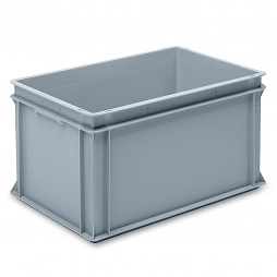 Stackable container- solid sidewalls, slotted base & 2 shell handles