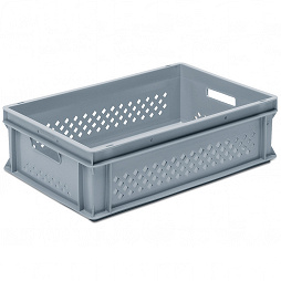 Stackable container- perforated sides, solid base & 2 handle slots