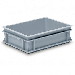 Stackable container - solid sidewalls, double base, 2 shell handles