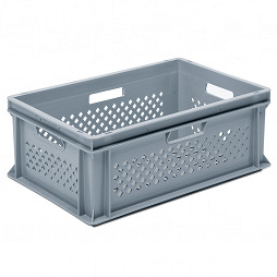 Stackable container-perforated sidewalls, slotted base & 4 handle slot
