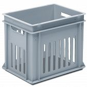 Stackable container - slotted sidewalls, solid base and 2 handle slots
