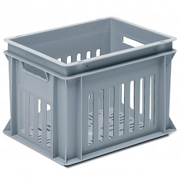 Stackable container - slotted sidewalls, slotted base & 2 handle slots