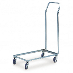 Dolly with 4 steering castors and push bar, 578x378x880 mm