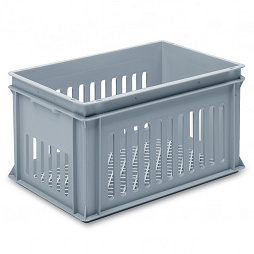 Stackable container - slotted sidewalls, grated base & 2 shell handles