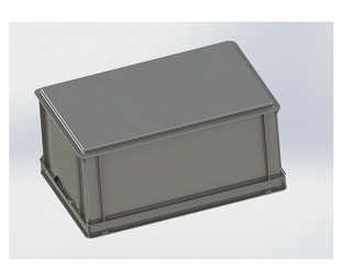 Stackable container- solid sidewalls, solid base & 2 shell handles