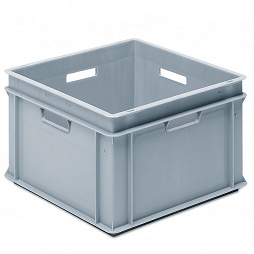 Stackable container- solid sidewalls, solid base & 4 handle slots