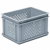 Stackable container-perforated sidewalls, slotted base 2 shell handles