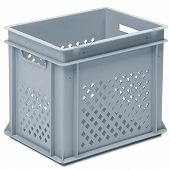 Stackable container - perforated sidewalls, solid base, 2 handle slots