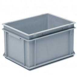 Stackable container- solid sides, reinforced base with 2 shell handles