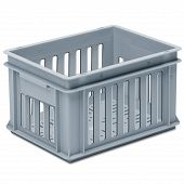 Stackable container-slotted sidewalls and base, 2 shell handles