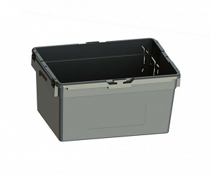 543x400x284mm, Black without lid and without bail arms.