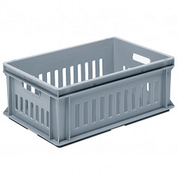Stackable container- slotted sidewalls, solid base & 2 handle slots