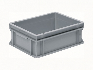 Stackable container- solid sides, solid base & 2 shell handles