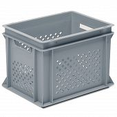 Stackable container-perforated sidewalls, slotted base & 2 handle slot