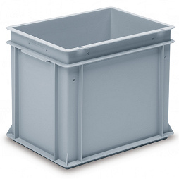 Stackable container - solid sidewalls, slotted base and 2 shell handle