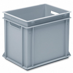 Stackable container- solid sides, reinforced base & 2 handle slots