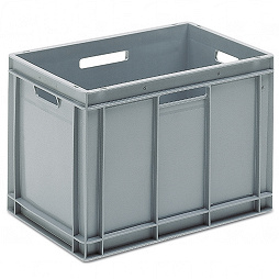 Stackable container - solid sidewalls, SGL solid base & 4 handle slots