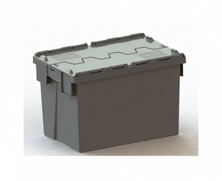 Black nestable container with attached lid (ALC)