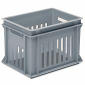 Stackable container - slotted sidewalls, solid base & 2 handle slots