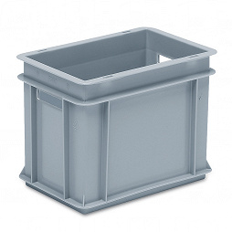 Stackable container - solid sidewalls, solid base and 2 handle slots.
