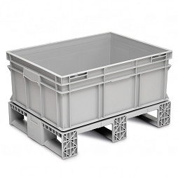 Stackable container - solid sidewalls, solid base, 3 runners crossways
