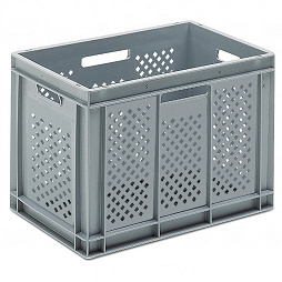 Stackable container- perforated sides, slotted base & 4 handle slots