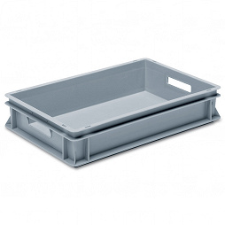 Stackable container- solid sidewalls, ribbed base & 2 handle slots