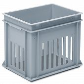 Stackable container - slotted sidewalls, solid base and 2 shell handle